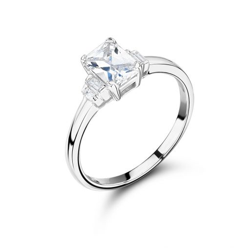 Emerald Cut Diamond And Baguettes Engagement Ring - ER2290