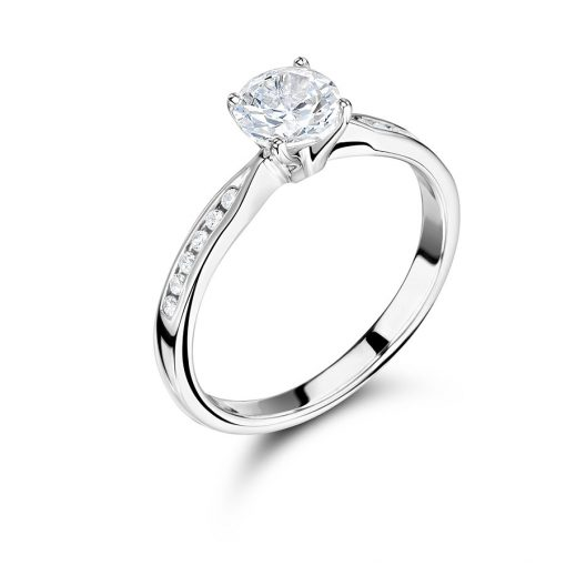 Round Brilliant Solitaire with Channel Set Shoulders Ring - ER 2247