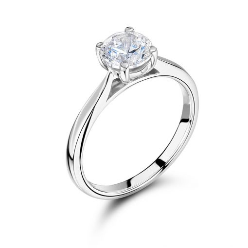Round Solitaire with Slim Tapered Shoulders Engagement Ring - ER 2374