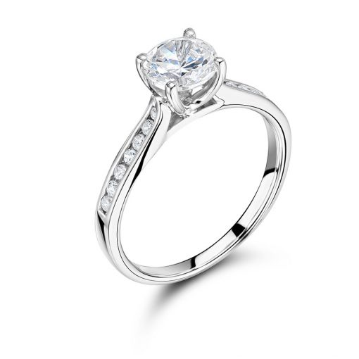 Round Solitaire with Tapered Diamond Set Shoulders Engagement Ring- ER1501