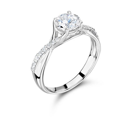Round Solitaire with Wrap Over Scallop Set Shoulders Engagement Ring - ER 1357