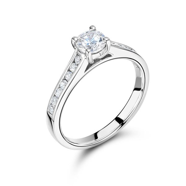 Round Solitaire Diamodn with Channel Set Shoulders Engagement Ring Voltaire Diamonds Dublin