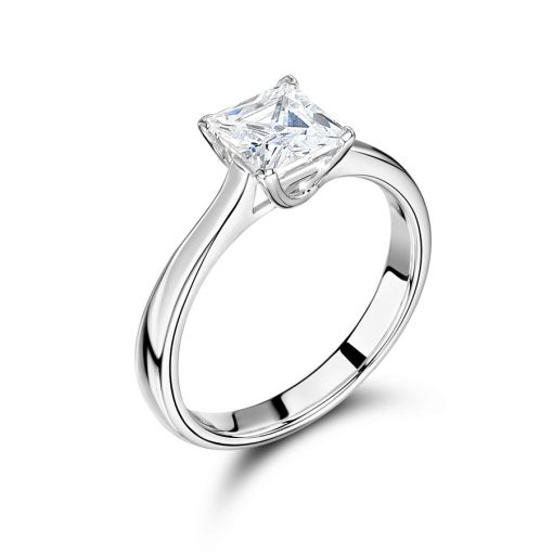 Princess Solitaire with Plain Classic Shoulders Engagement Ring - ER2297