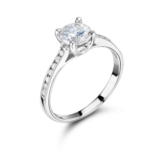 Round Solitaire Channel Set Shoulder Engagement Ring - ER2059