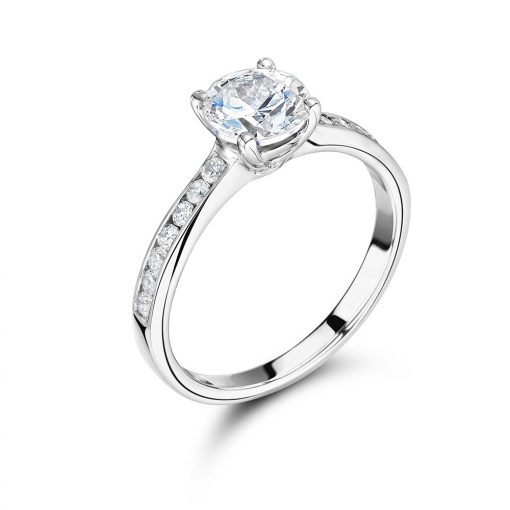 Round Scallop Set Halo Engagement Ring - ER2316