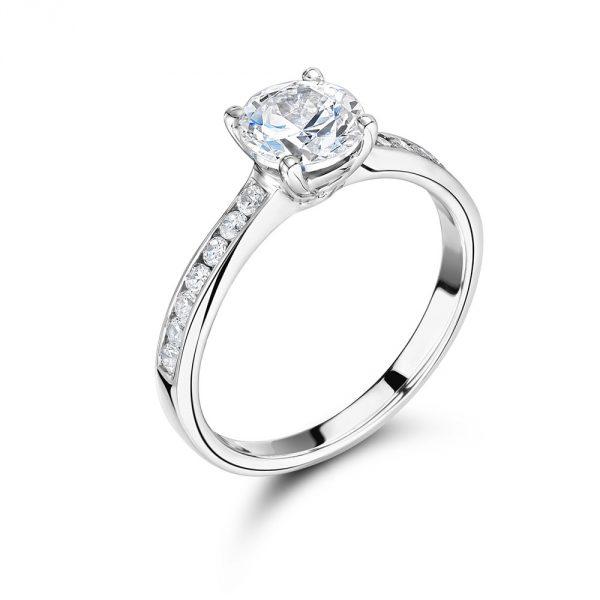 Channel Set Shoulders Engagement Ring VOltaire Diamonds Dublin