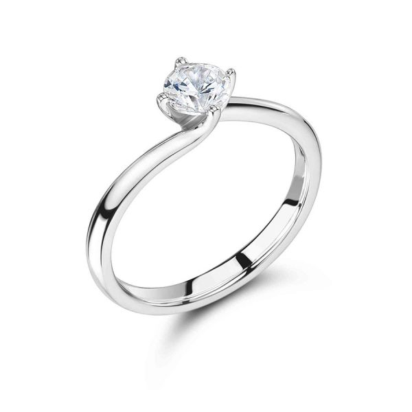 Round Solitaire with Low Twist Setting Engagement Ring Voltaire Diamonds Dublin