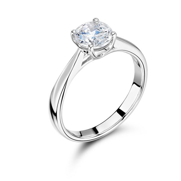 Round Solitaire with Tapered Shoulders Diamond Ring Voltaire Diamonds