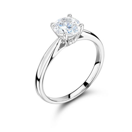 Round Solitaire Tapered Shoulder Engagement Ring - ER2370