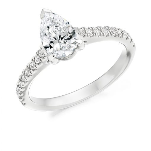Pear Shaped Solitaire with Scallop Set Shoulders Engagement Ring - ER2418