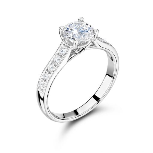 Round Solitaire Pave Shoulder Engagement Ring - ER2057