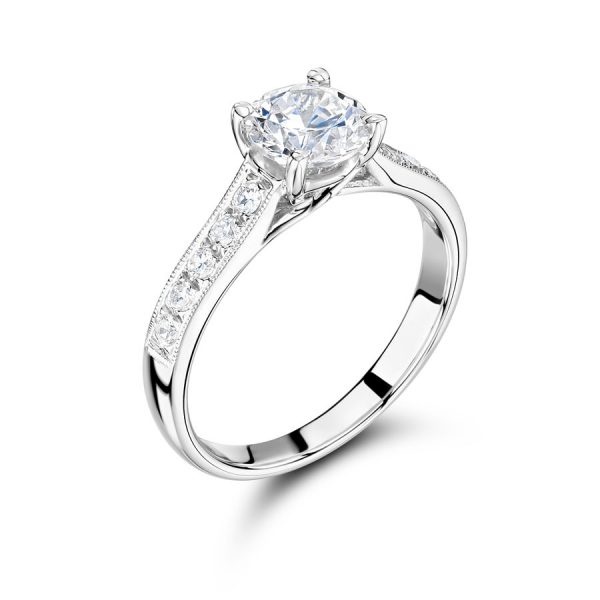 Round Solitaire Diamond Ring with Parallel Pave Set Shoulders
