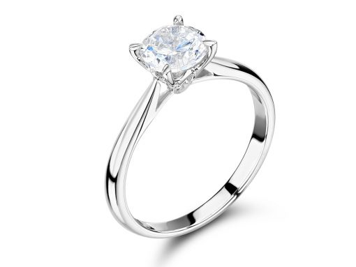 Round Solitaire Tapered Shoulder Engagement Ring - ER2233