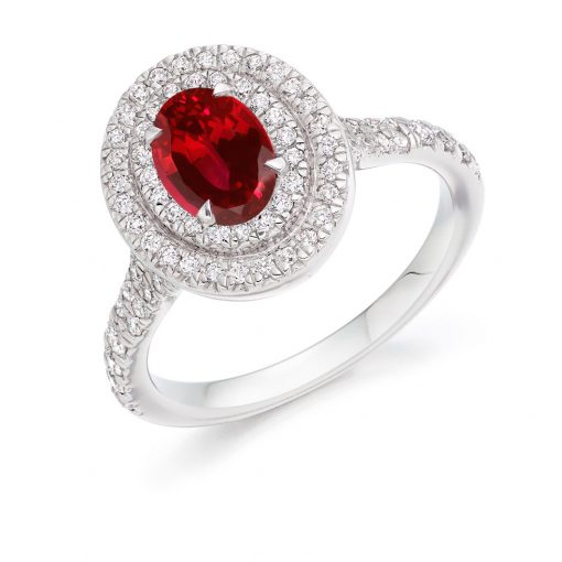 Classic Double Halo Resplendent Ruby Engagement Ring