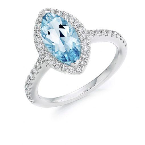 Majestic Marquise Aquamarine And Diamond Halo Engagement Ring