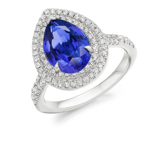 Pearfect Double Halo Tanzanite Engagement Ring