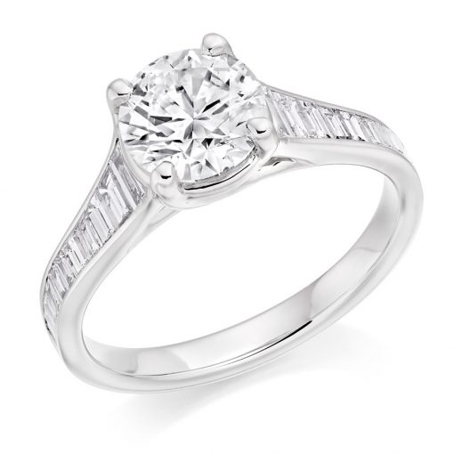 Round Brilliant & Baguette Cut Diamond Reverse Tapered Engagement Ring