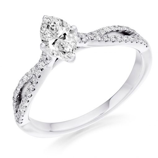 Marquise Diamond With Interlaced Shoulders Engagament Ring