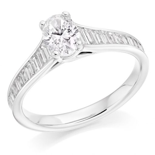 Oval and Tapered Baguette Cut Diamond Engagement Ring
