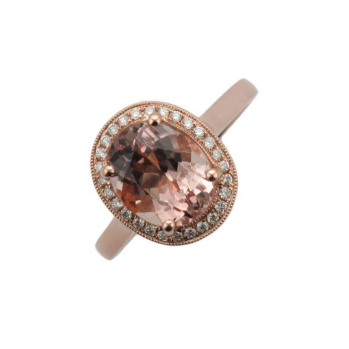 Morganite Classic Halo Rose Gold Engagement Ring ER2535