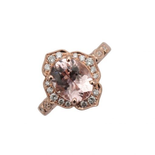 Morganite Fancy Pave Halo Rose Gold Engagement Ring ER2536