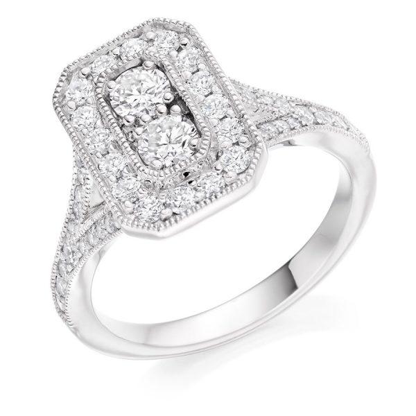 Antique Style Round Brilliant Cut Diamond Engagement Ring