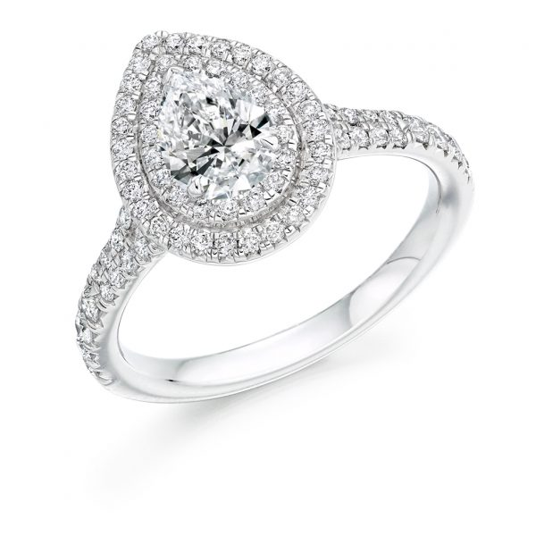 Pear Diamond with Scallop Set Double Halo Engagement Ring ER2135