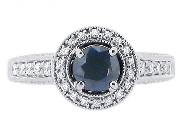 ER 1248 sapphire round halo pave floral