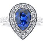 ER 1543 Blue Sapphire Pear Halo
