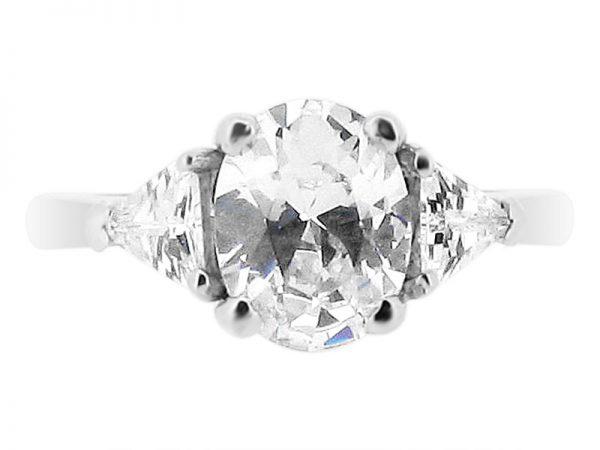 ER 1855 oval trillion 3 stone