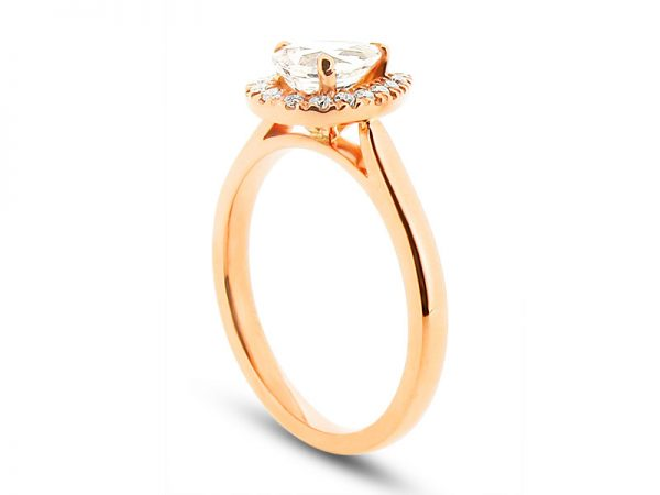 Pear Peach Sapphire Rose Gold Halo with Scallop Set Diamonds Engagement Ring – ER 1989