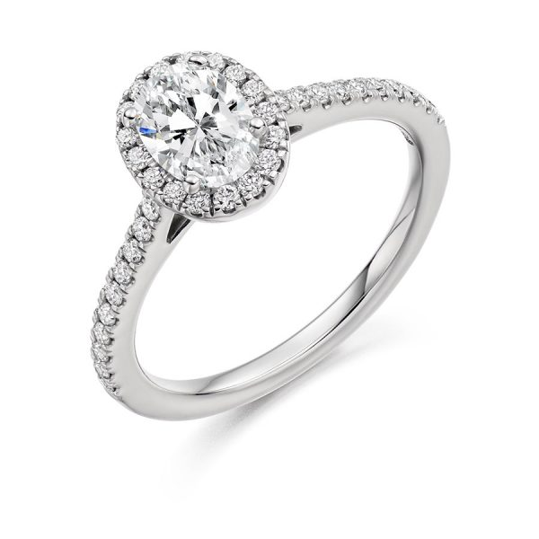 Engagement Ring Oval Scallop Set Halo