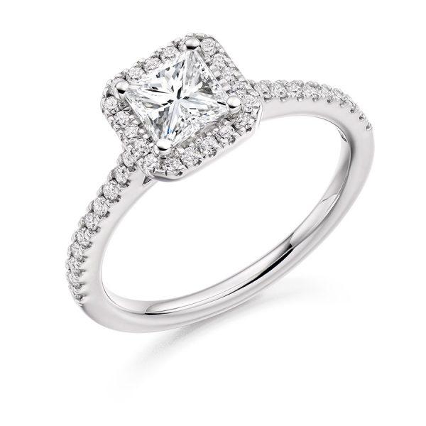 Engagement Ring Princess Scallop Halo