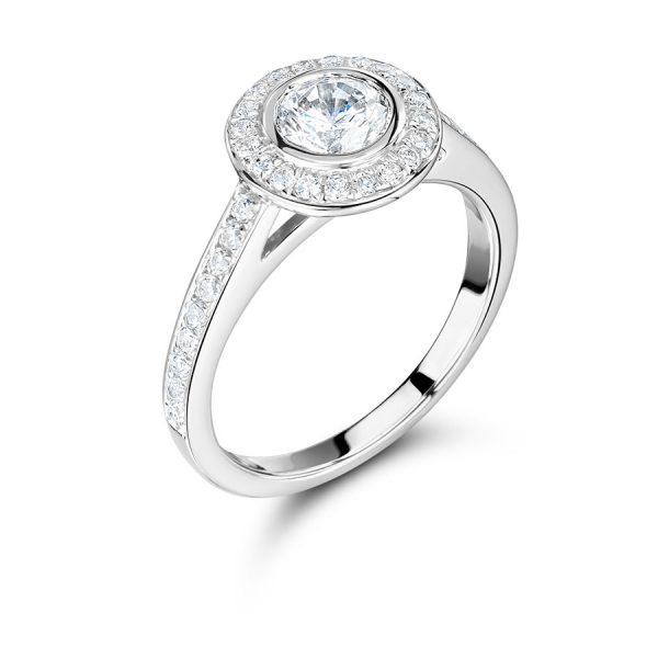 Handmade Rubover Halo Engagement Ring