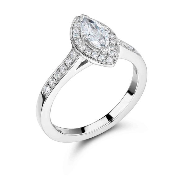 Marquise Diamond with Pave Set Halo and Shoulders