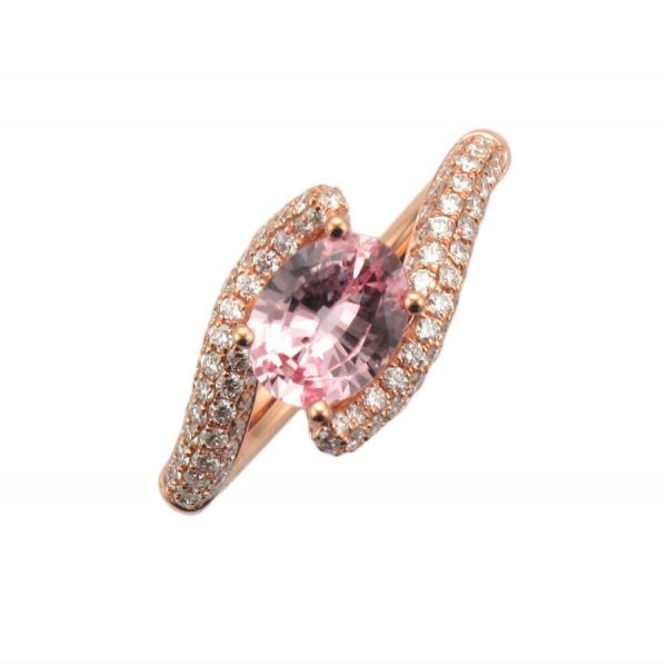 Morganite Bypass Style Rose Gold Engagement Ring ER2534