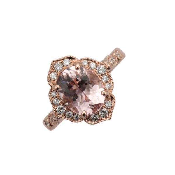 Morganite Fancy Pave Halo Rose Gold Engagement Ring ER2536