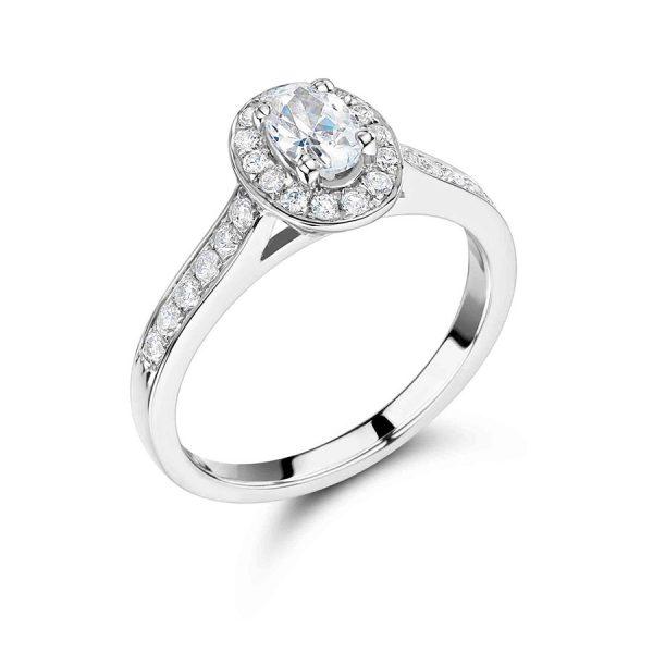 Oval Diamond Pave Set Halo Engagement Ring ER 225