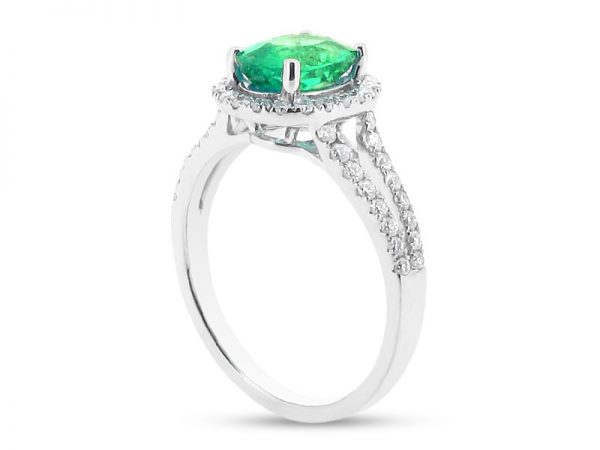 Oval Halo with Scallop Set Split Shank and Green Emerald Centre Stone ER 2019