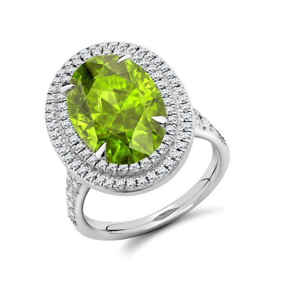 Pretty Peridot Diamond Double Halo Engagement Ring
