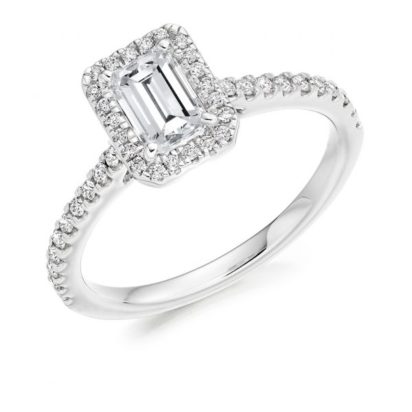 Radiant Cut Scallop Halo Engagement Ring