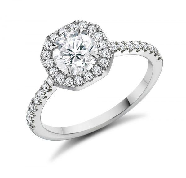 Round Brilliant Cut Diamond Octagonal Halo Engagement Ring