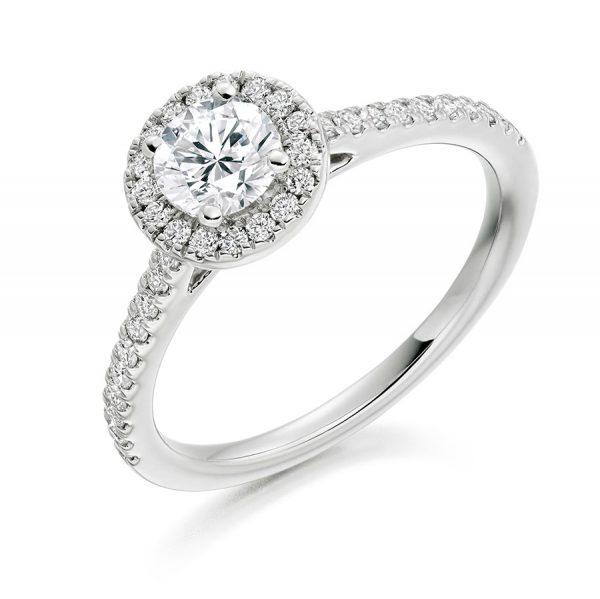 Round Scallop Set Halo Engagement Ring