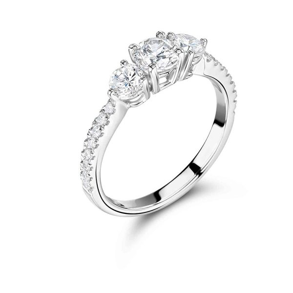 Round Solitaire Diamond Trilogy Engagement Ring 1