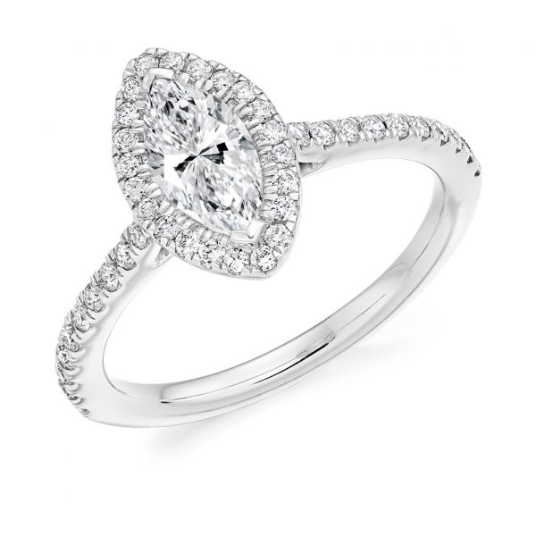 Scallop Set Marquise Halo Engagement Ring ER 2138