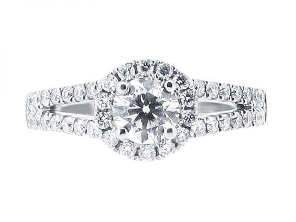 er 1056 round scallop set halo split shoulder engagement ring