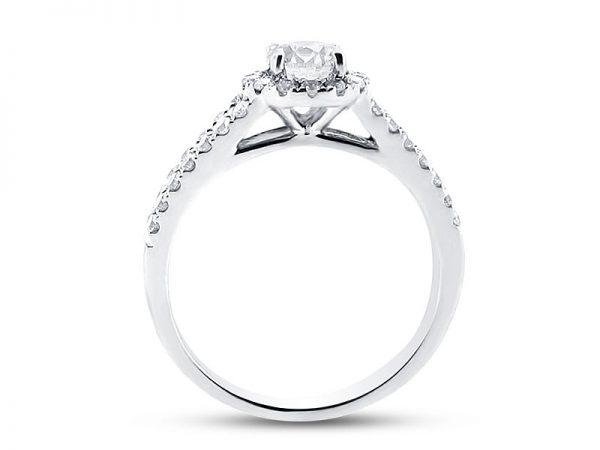 er 1056 side round scallop set halo split shoulder engagement ring