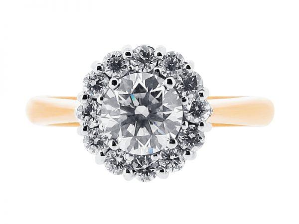 er 1171 round cluster halo engagement ring