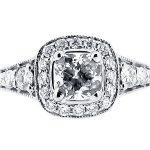er 1519 cushion halo pave milgrain engagement ring