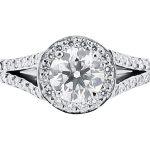 er 1532 round halo scallop split engagement ring